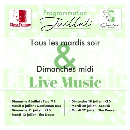 Soirées concerts mardis & dimanches soir - Live Music chez yvonne restaurant balma